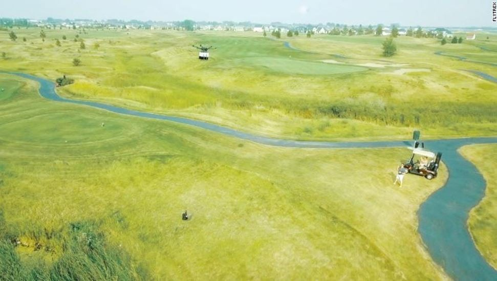 Drone golf course delivery