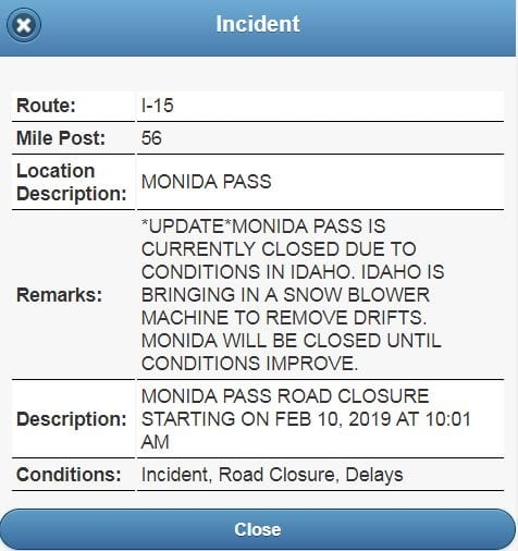 Monida Pass on Montana/Idaho border closed due to road